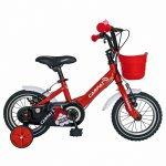 Bicicleta Carpat C1202C 12 V-Brake cu cosulet si roti ajutatoare 2-4 ani rosu/alb