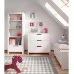 Comoda 3 sertare Pinio Mini lemn de pin alb/roz