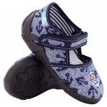 Pantofi baieti cu ancora brodata cu scai din material textil marime 20 (12,8 cm)
