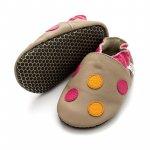 Pantofi cu talpa moale Liliputi cu crampoane antialunecare Polka Dots Pink L 14 cm