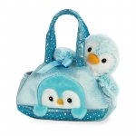 Pinguin albastru in geanta Fancy Pal 20 cm Aurora 32834