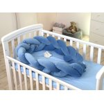Protectie laterala patut bebe bumper impletit Inchidere velcro Velvet Jeans 210 cm
