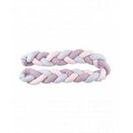 Protectie laterala patut bebe bumper impletit uni grey-lilac-pink 210 cm