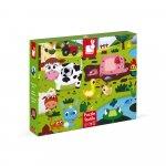 Puzzle tactil Animale de la ferma 20 de piese Janod J02772