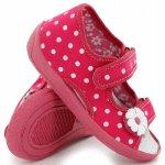 Sandale fete cu bulinute albe si floricel cu scai din material textil marime 27 (17,5 cm)
