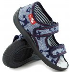 Sandale baieti cu motiv ancora cu scai din material textil marime 26 (17 cm)