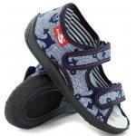 Sandale baieti cu motiv ancora cu scai din material textil marime 27  (17,5 cm)