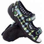 Sandale baieti in carouri colorate cu scai din material textil marime 26 (17 cm)
