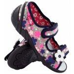 Sandale fete cu motive florale cu scai din material textil marime 30 (19,5 cm)