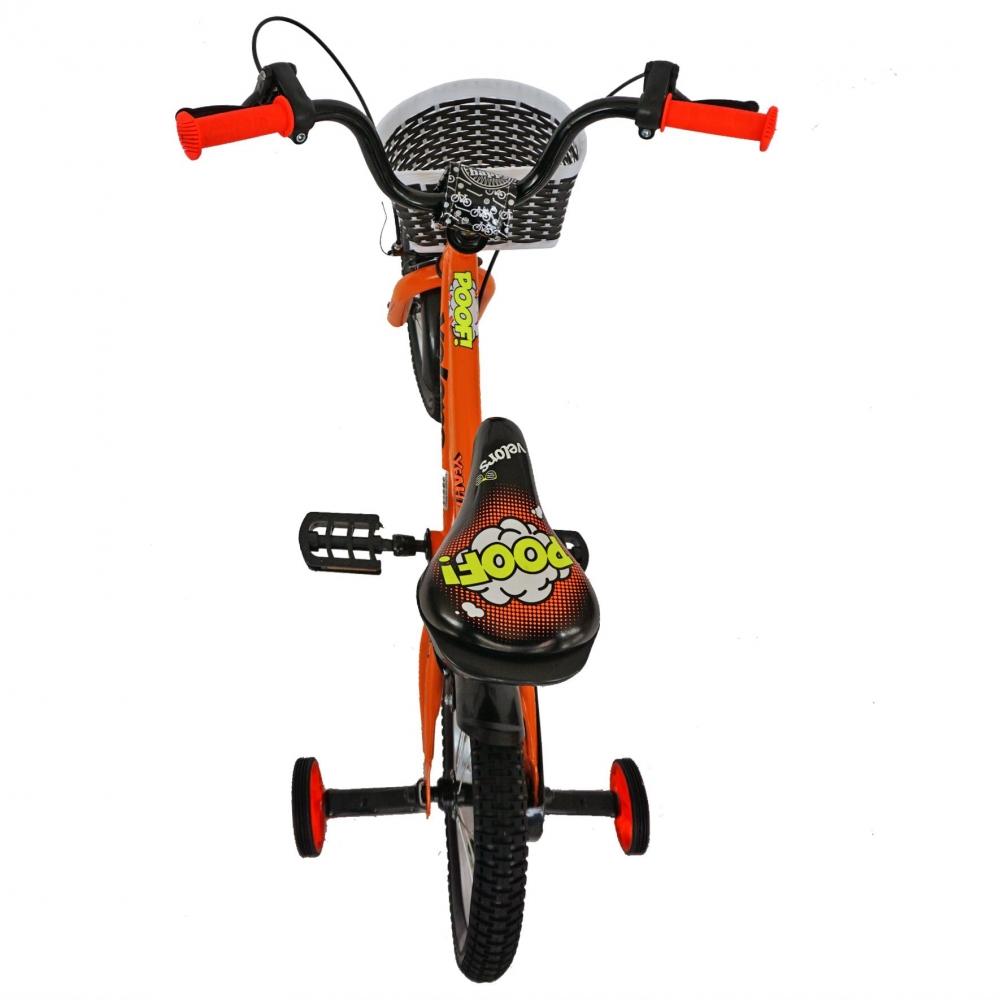 Bicicleta copii 14 Velors V1401A cadru otel portocaliunegru si roti ajutatoare imagine