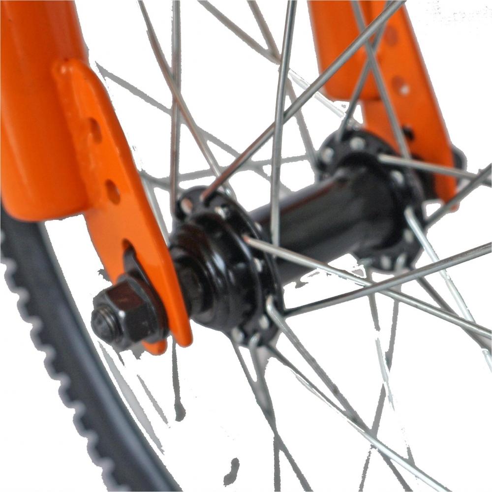 Bicicleta copii 16 Velors V1601A cadru otel portocaliu negru si roti ajutatoare
