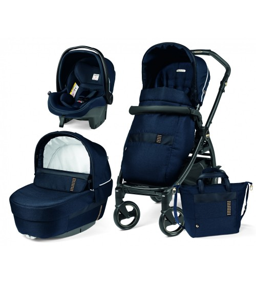 Carucior 3 in 1 Peg Perego Book 51 Black and Gold Rock Navy