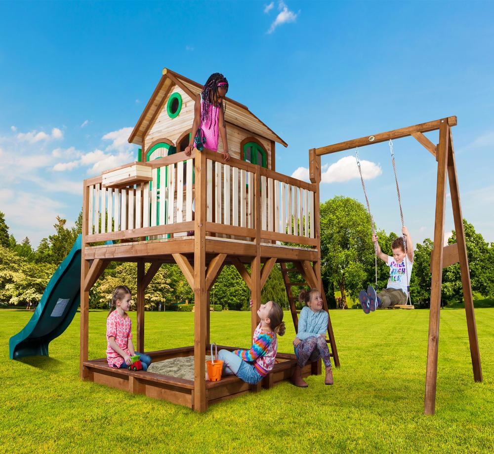 Casuta din lemn pentru copii Liam cu leagan simplu imagine
