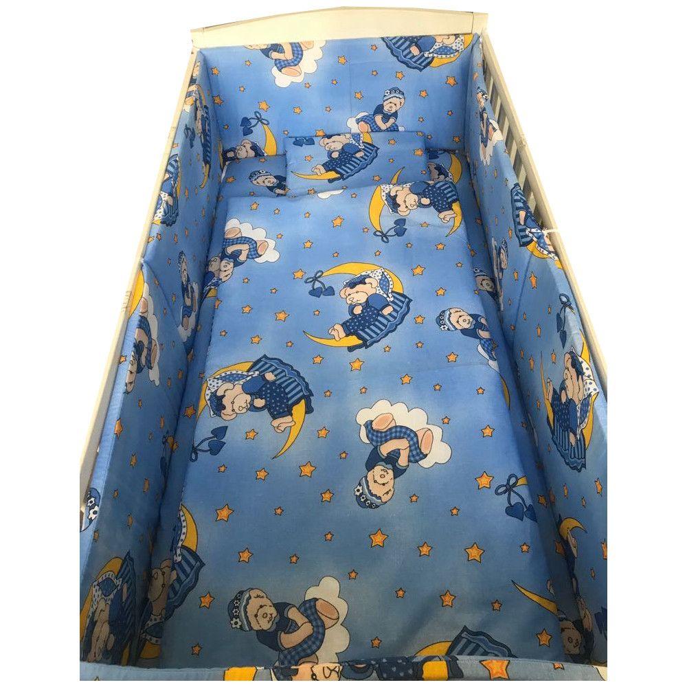 Lenjerie patut cu 5 piese Bunicul Ursulet Albastru 120x60 cm
