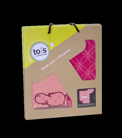 Lenjerie pentru patut cu 2 piese Joy hipopotam roz