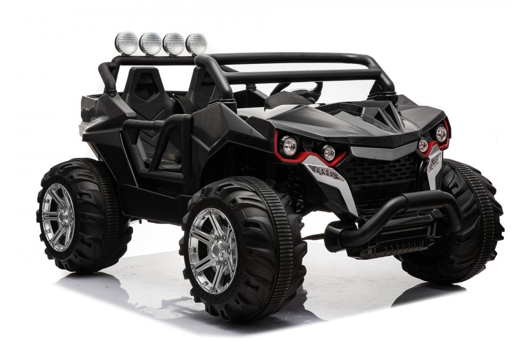 Masinuta electrica cu 2 locuri si roti din cauciuc Jeep 4x4 Black