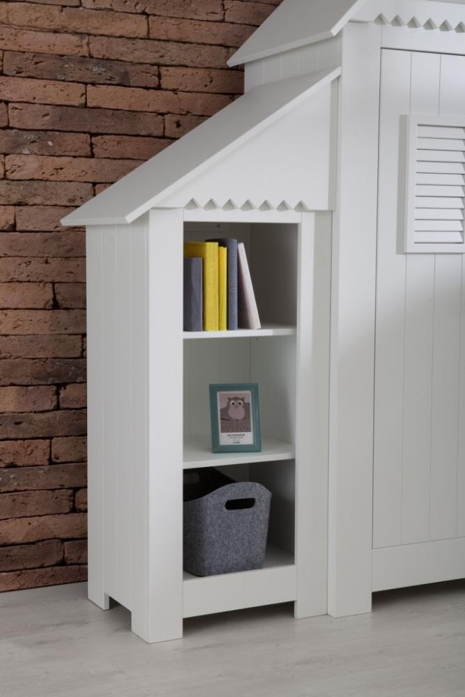 Modul biblioteca pentru copii atasabila la dulapul Pinio Marsylia alb