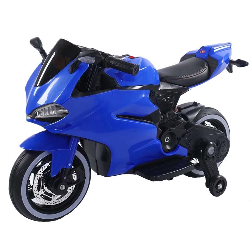 Motocicleta electrica cu scaun de piele si lumini LED Napoleon Blue imagine