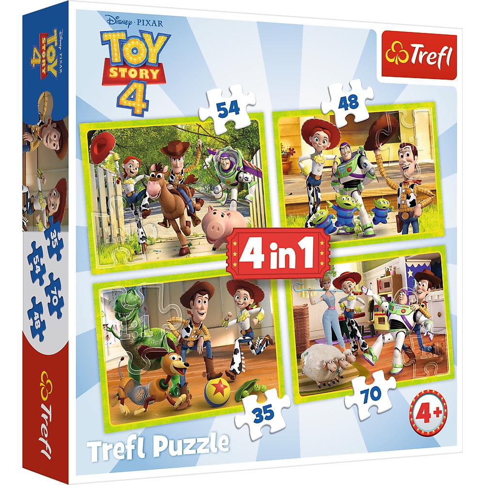 Puzzle Trefl 4 in 1 Eroii Toy Story 4 in actiune