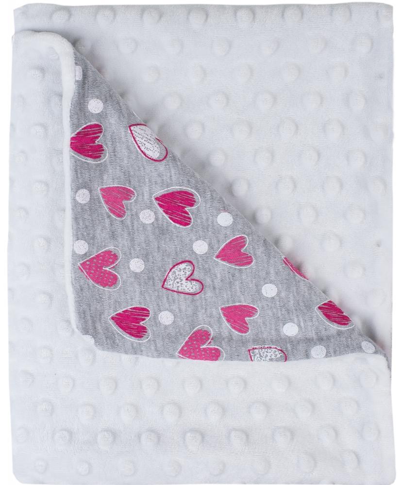 Patura bebe in dublu strat cu imprimeu 65 x 90 cm alb cu inimioare