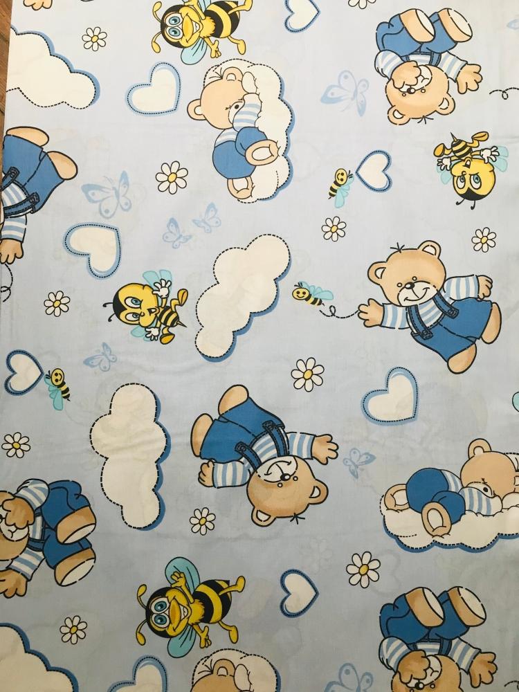 Paturica de vara Junior Ursi cu albine pe fond albastru