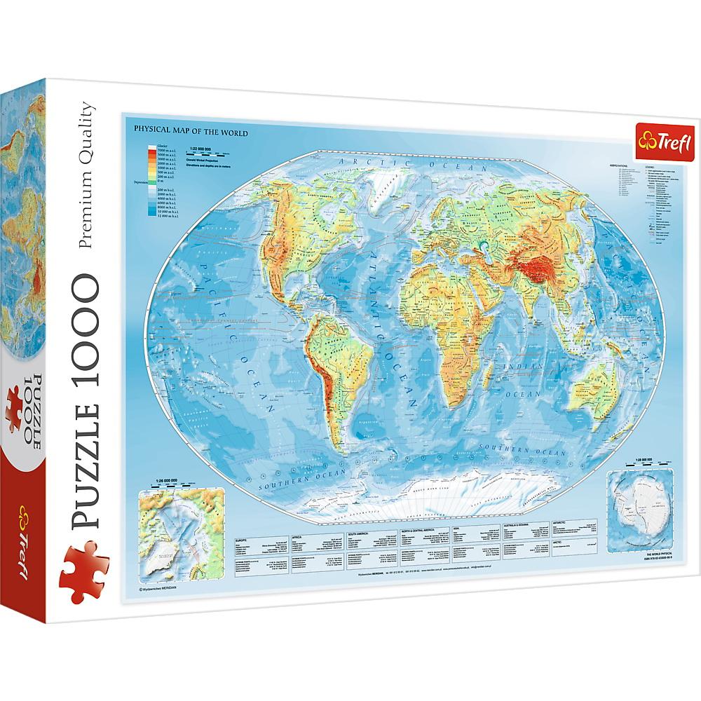 Puzzle Trefl Harta fizica a lumii 1000 piese