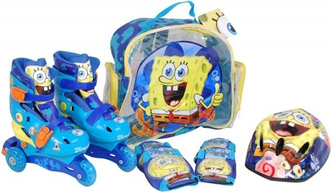 Role copii Saica reglabile 35-38 Sponge Bob cu protectii si casca in ghiozdan imagine