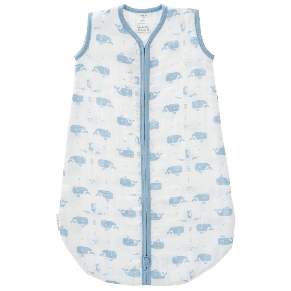 Sac de dormit din bumbac organic exterior muselina Fresk Whale blue 6-12 luni