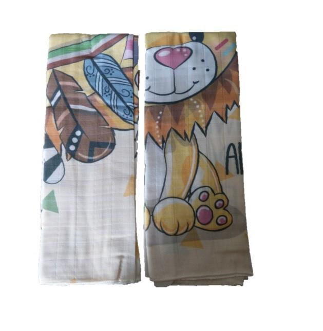 Set 2 museline din bumbac 70x55 cm Lion Sevi