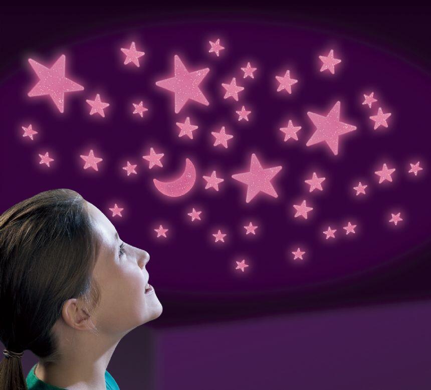 Set reflectorizant cu sclipici luna si stele