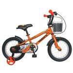 Bicicleta copii 14 Velors V1401A cadru otel portocaliu/negru si roti ajutatoare