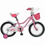Bicicleta copii 14 Velors V1402A cadru otel roz/alb si roti ajutatoare