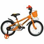 Bicicleta copii 18 Velors V1801A cadru otel portocaliu negru si roti ajutatoare