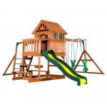 Complex de joaca din lemn Springboro cu tobogan si leagane