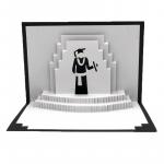 Felicitare 3D Origami Graduation white