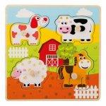 Puzzle din lemn 4 piese Animale de la ferma