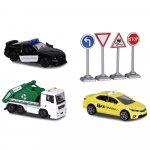 Set Majorette Diorama City cu 3 masinute si 4 indicatoare rutiere