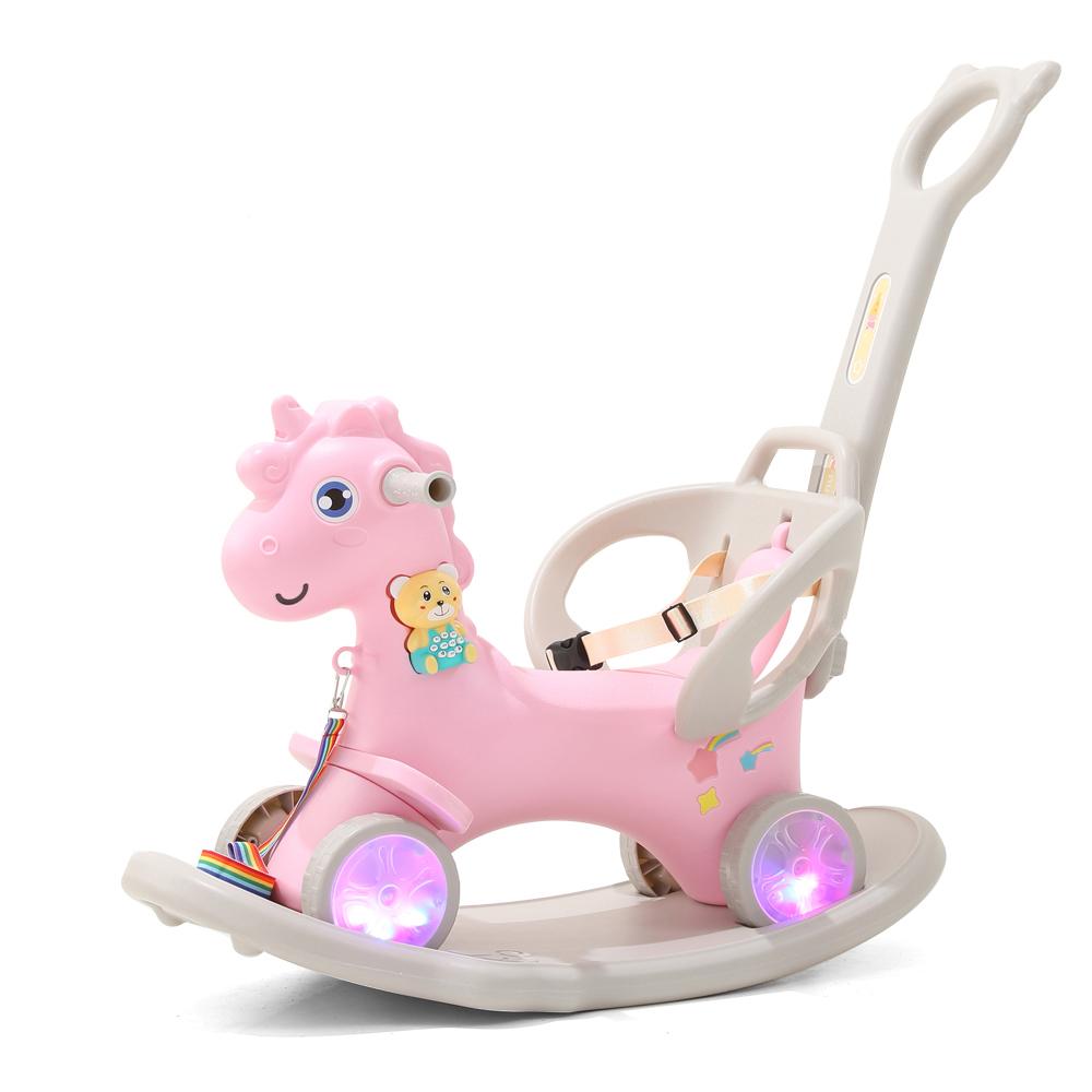 Balansoar 3 in 1 cu maner parental Nichiduta Unicorn Pink imagine