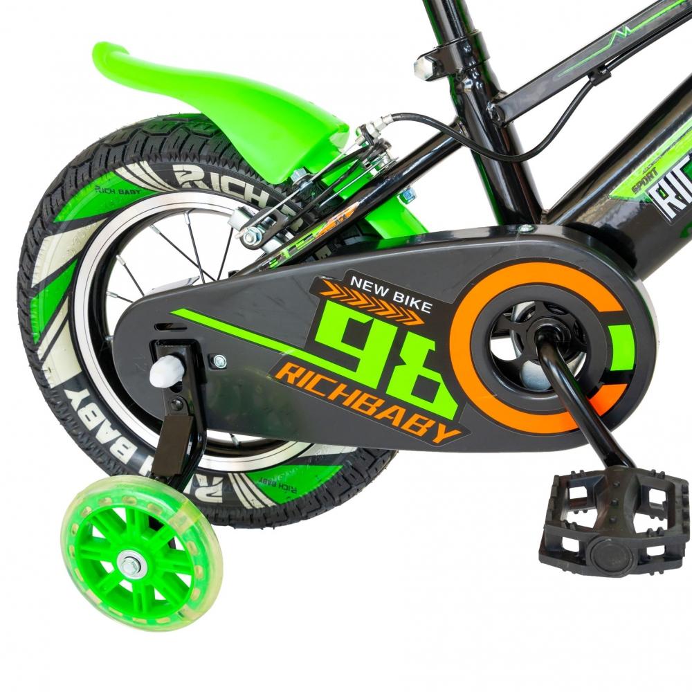 Bicicleta baieti Rich Baby R1207A roata 12 C-Brake cu cosulet si roti ajutatoare cu led 2-4 ani negruverde imagine