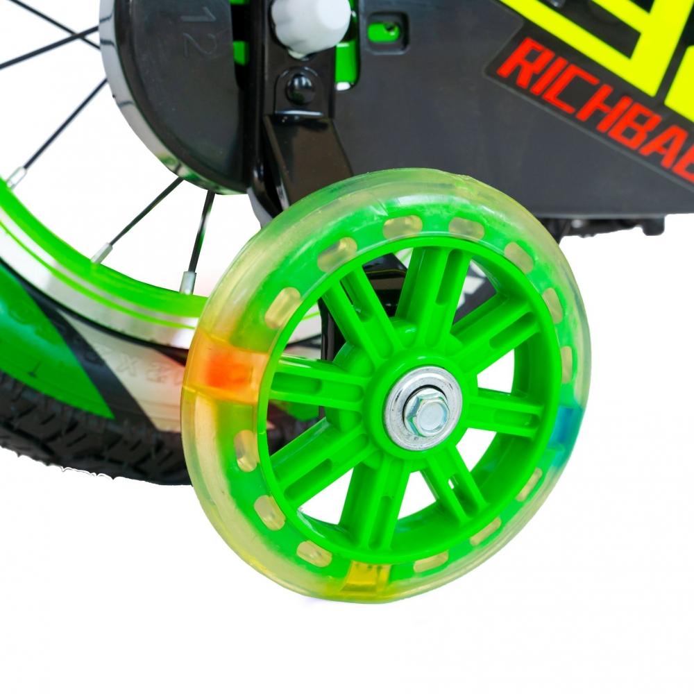 Bicicleta baieti Rich Baby R1207A roata 12 C-Brake cu cosulet si roti ajutatoare cu led 2-4 ani verdealb
