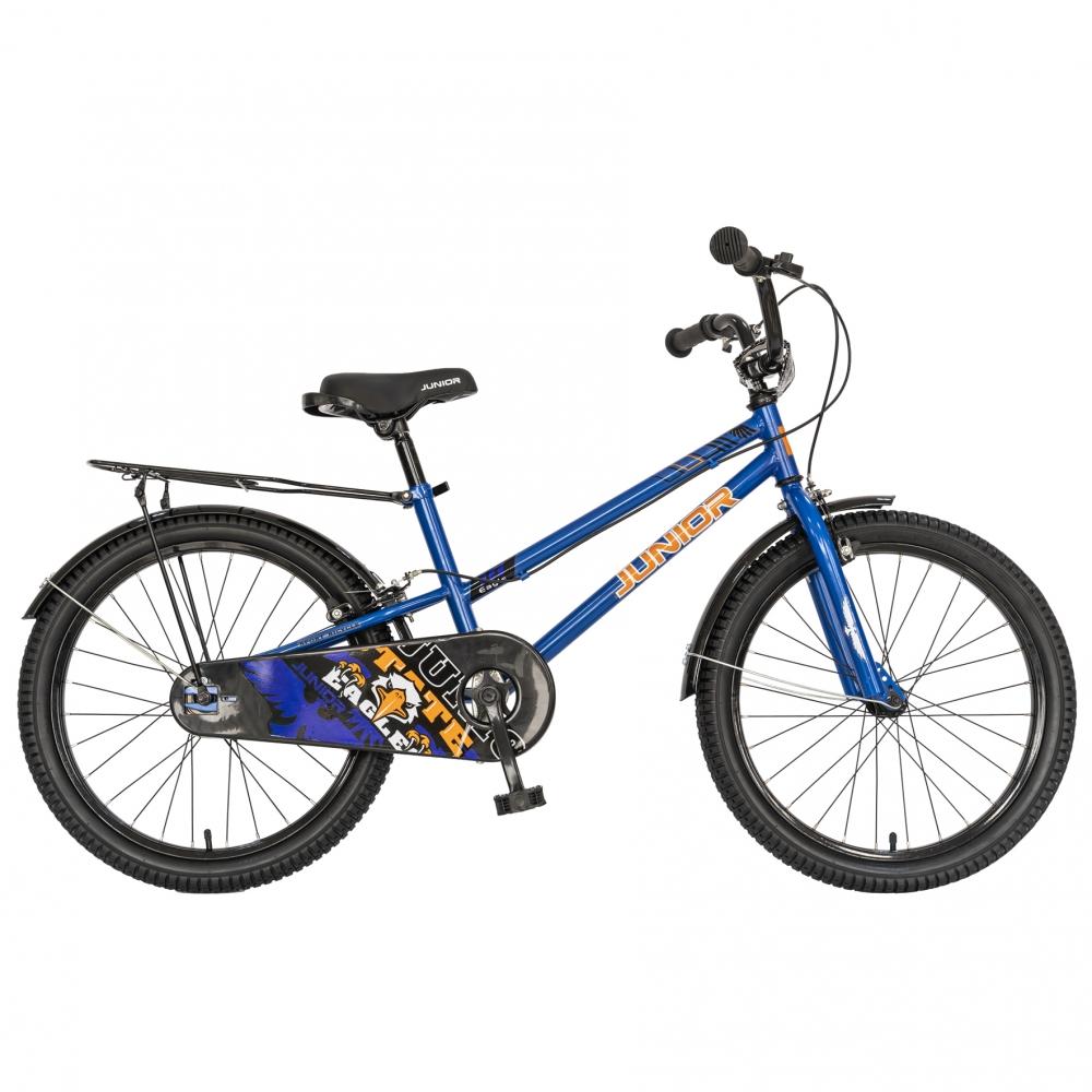Bicicleta copii 20 Junior J2001B cadru otel si portbagaj culoare albastru negru 7-10 ani