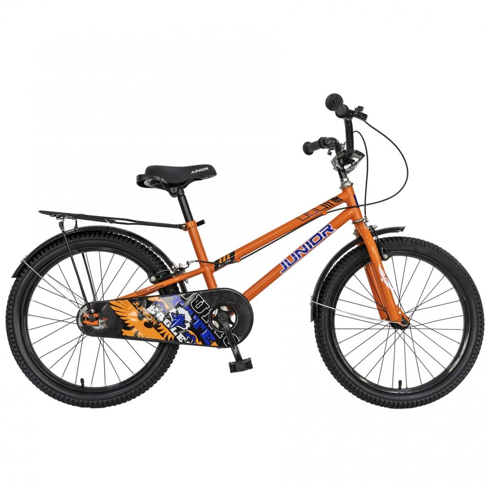 Bicicleta copii 20 Junior J2001B cadru otel si portbagaj culoare portocaliu negru 7-10 ani