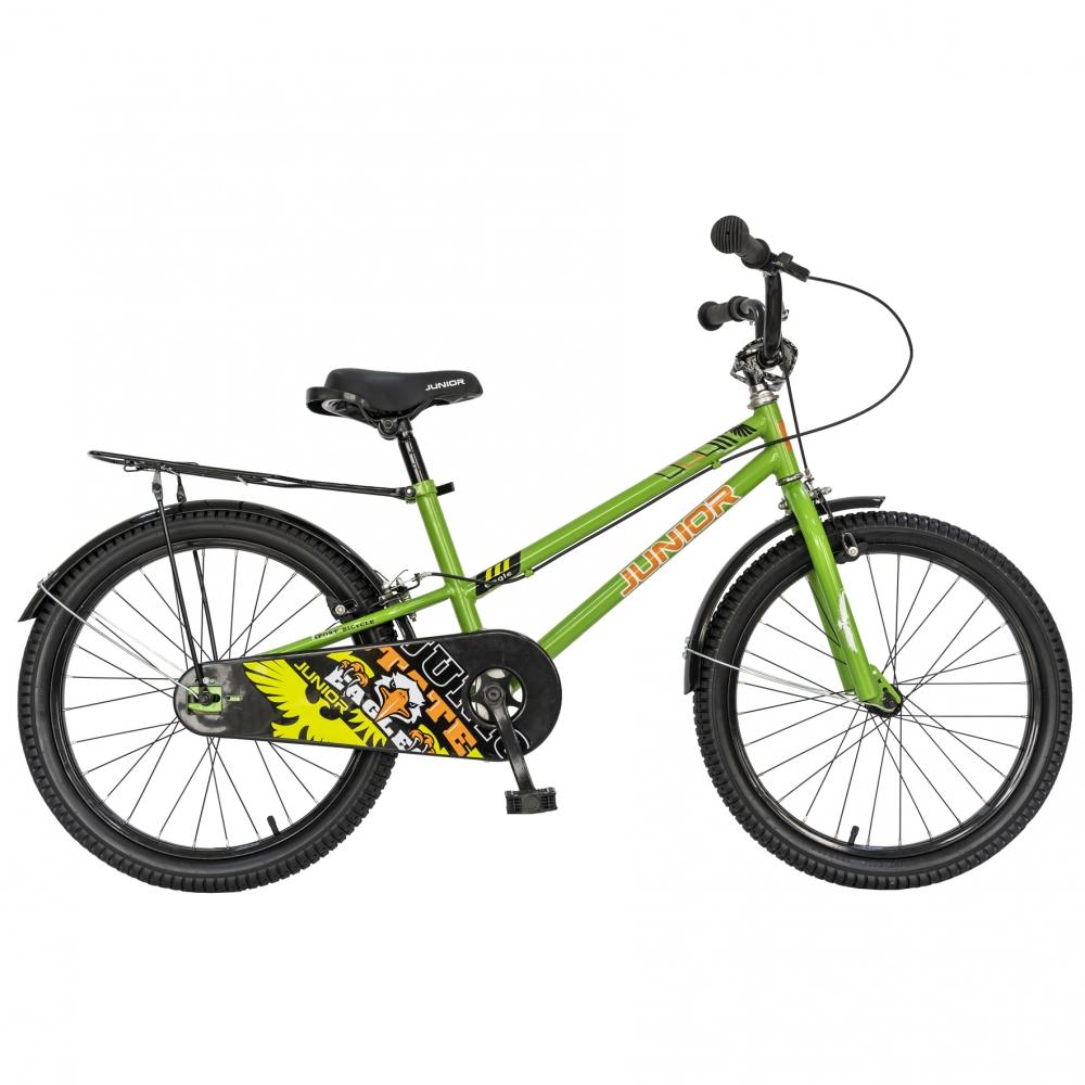 Bicicleta copii 20 Junior J2001B cadru otel si portbagaj culoare verde negru 7-10 ani