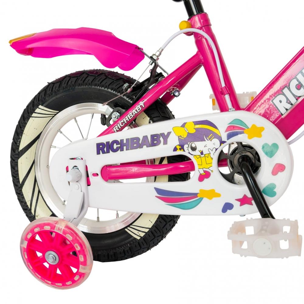 Bicicleta fete Rich Baby R1208A roata 12 C-Brake cu cosulet si roti ajutatoare cu led 2-4 ani fucsiaalb