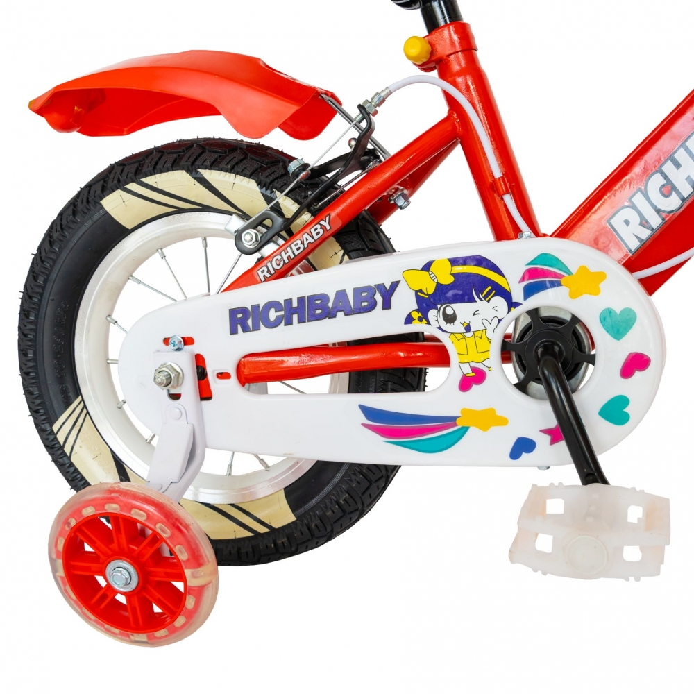 Bicicleta fete Rich Baby R1208A roata 12 C-Brake cu cosulet si roti ajutatoare cu led 2-4 ani rosualb