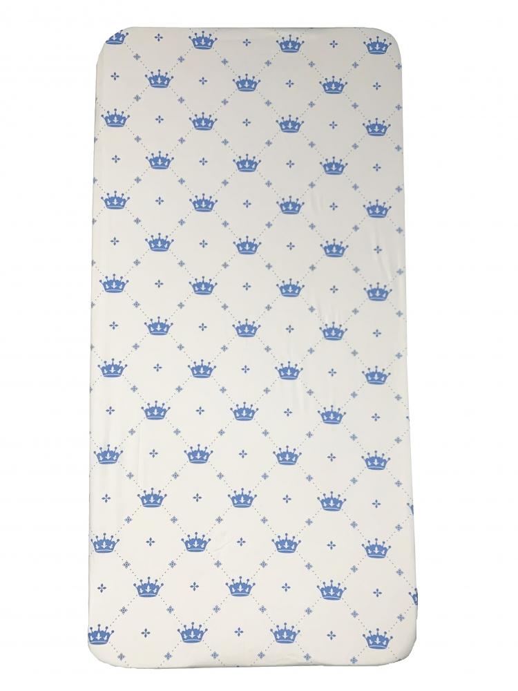 Cearsaf cu elastic roata 140x70 cm Coronite albastre imagine