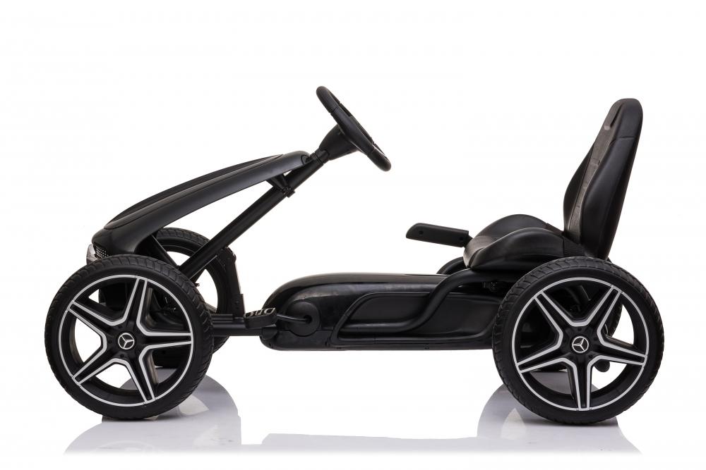 Kart cu pedale si roti din cauciuc EVA Mercedes-Benz Black imagine
