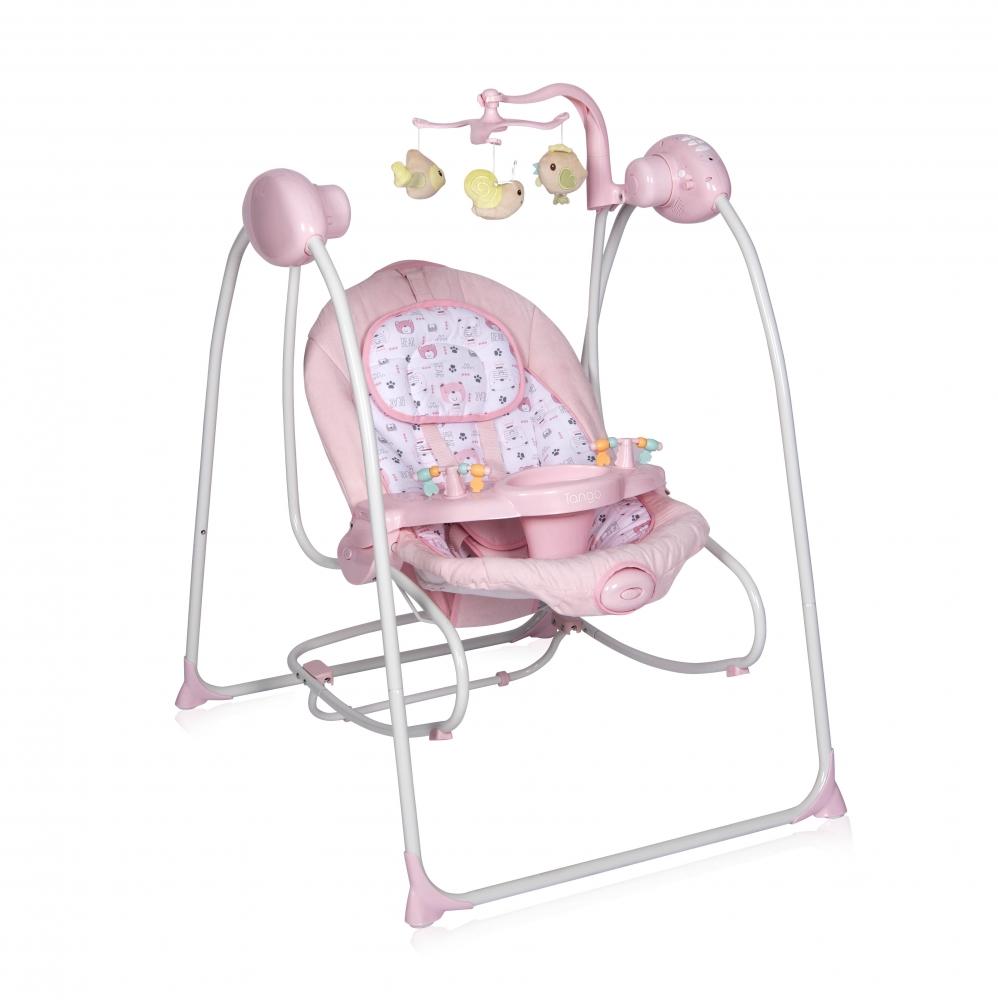 Leagan Tango sistem 2 in 1 electric muzical cu vibratii cu telecomanda Pink imagine