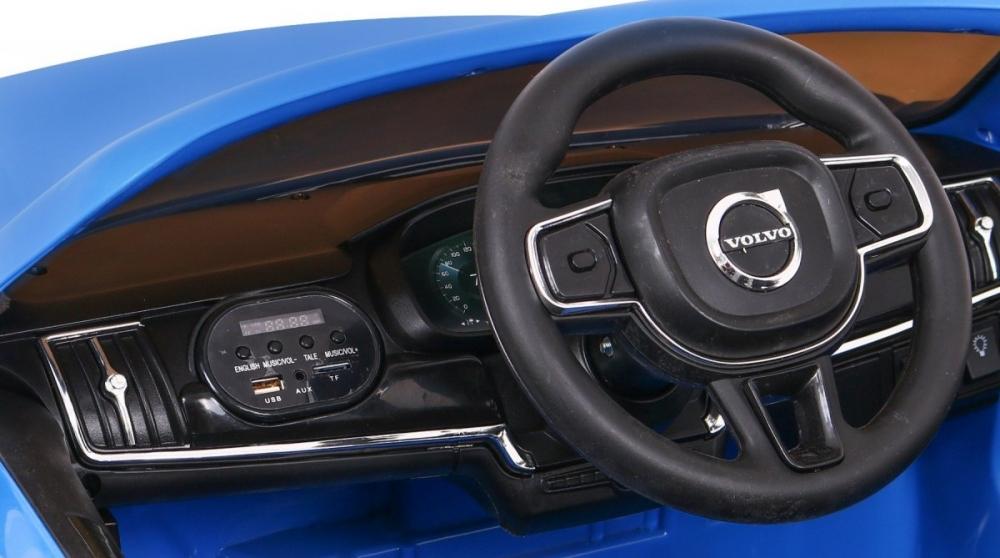 Masinuta electrica cu roti EVA si scaun din piele Volvo S90 Blue