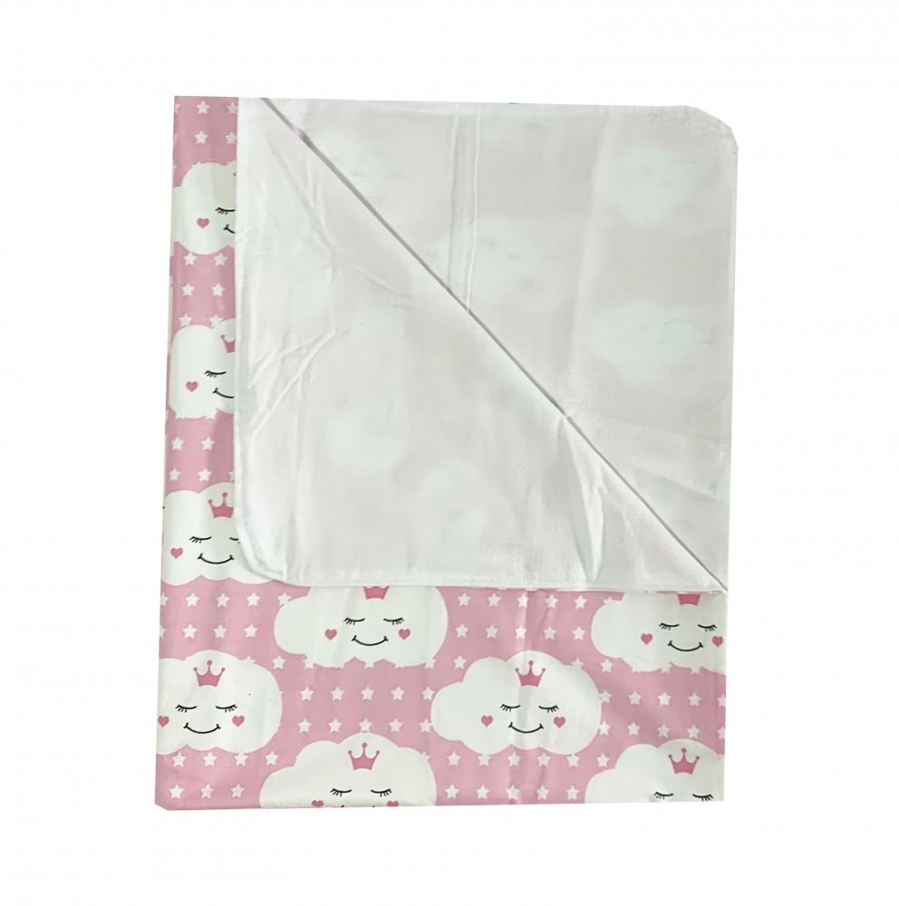 Paturica dubla de vara bebelusi DeLuxe 98x78 cm norisori zambareti roz imagine